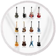 Guitar Icons No3 Round Beach Towel