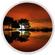 Guitar Landscape At Sunset Round Beach Towel