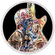Guitar Legends Picking A Gibson Round Beach Towel