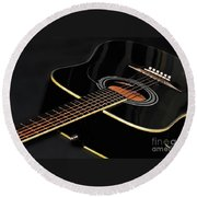 Round Beach Towel featuring the photograph Guitar Low Key By Kaye Menner by Kaye Menner
