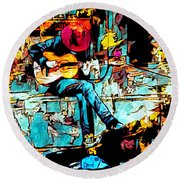 Guitar Man  Round Beach Towel