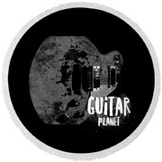 Round Beach Towel featuring the photograph Guitar Planet  by Guitar Wacky