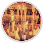 Guitar Reflections Round Beach Towel