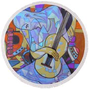 Round Beach Towel featuring the painting Guitar-six Strings by Denise Weaver Ross