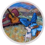 Round Beach Towel featuring the painting Guitar Doggy And Me In Wine Country by Xueling Zou