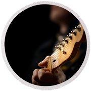 Guitarist Close-up Round Beach Towel