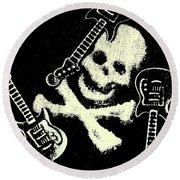 Guitars Of Black Metal Round Beach Towel