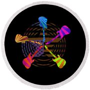 Round Beach Towel featuring the digital art Guitars Stars And Stripes  by Guitar Wacky