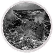 Guitarwreck Grayscale Round Beach Towel