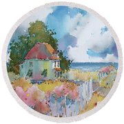 Gulf Coast Cottage Round Beach Towel