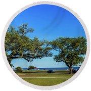 Gulf Coast Lighthouse Seascape Biloxi Ms 3663b Round Beach Towel