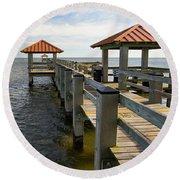 Gulf Coast Pier Round Beach Towel