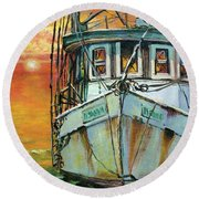 Gulf Coast Shrimper Round Beach Towel