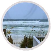 Round Beach Towel featuring the photograph Gulf Coast Waves by Debra Forand