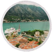Gulf Of Kotor With Cruise Liner Round Beach Towel