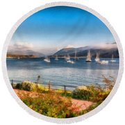 Round Beach Towel featuring the photograph Gulf Of  Ullapool      by Sergey Simanovsky