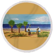 Gulf Shore Welcome Round Beach Towel