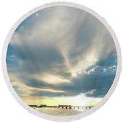 Gulf Shores Al Pier Seascape Sunrise 152a Round Beach Towel