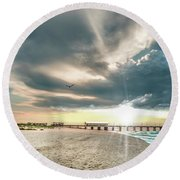 Gulf Shores Al Pier Seascape Sunrise 152c Round Beach Towel