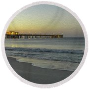 Round Beach Towel featuring the painting Gulf Shores Alabama Fishing Pier Digital Painting A82518 by Mas Art Studio