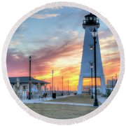 Gulfport Lighthouse Round Beach Towel