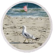 Gull And Flag Rockaway Beach Round Beach Towel