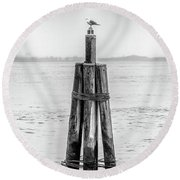 Gull In New York Harbor Round Beach Towel
