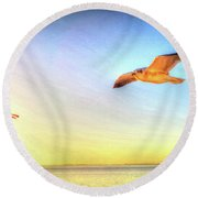 Gull In Sky Round Beach Towel