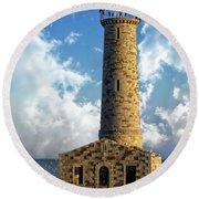 Gull Island Lighthouse Round Beach Towel