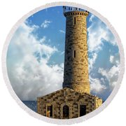 Gull Island Lighthouse Round Beach Towel