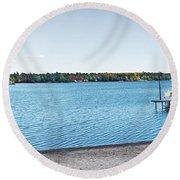 Gull Lake Panorama Round Beach Towel