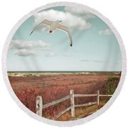 Gull Over Provincelands Trail, Cape Cod Round Beach Towel by Brooke T Ryan