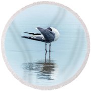 Gull Reflection Round Beach Towel