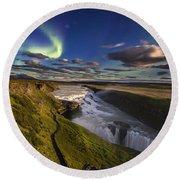 Gullfoss Iceland Round Beach Towel