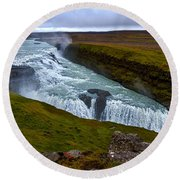 Gullfoss Waterfall #2 - Iceland Round Beach Towel