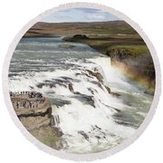 Gullfoss Waterfall In Iceland Round Beach Towel