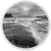 Gullfoss Waterfall No. 1 Round Beach Towel by Joe Bonita