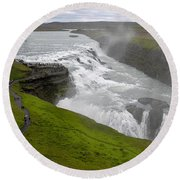Gullfoss Waterfall No. 2 Round Beach Towel by Joe Bonita