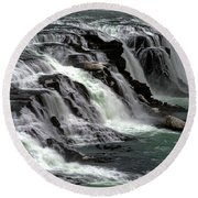 Gullfoss Waterfalls, Iceland Round Beach Towel