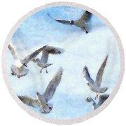 Gulls In Flight Watercolor Round Beach Towel