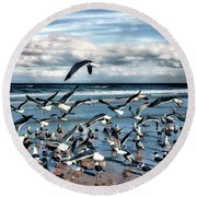 Round Beach Towel featuring the photograph Gulls by Jim Hill