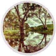 Round Beach Towel featuring the photograph Gum Creek V2 by Douglas Barnard