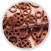 Guns Of Machine Mechanics Round Beach Towel