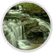 Gushing Through Forbes State Forest Round Beach Towel