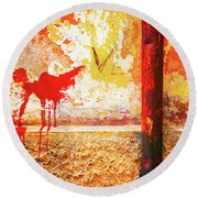 Round Beach Towel featuring the photograph Gutter And Decayed Wall by Silvia Ganora