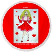 Round Beach Towel featuring the painting Gwen by Don Pedro De Gracia