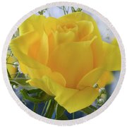 Gypsophila And The Rose. Round Beach Towel by Terence Davis