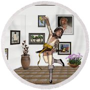 Round Beach Towel featuring the mixed media Digital Exhibartition _  Dancing Girl  by Pemaro
