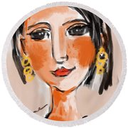 Gypsy Lady Round Beach Towel by Elaine Lanoue