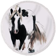 Round Beach Towel featuring the painting Gypsy Vanner by Isabella F Abbie Shores FRSA